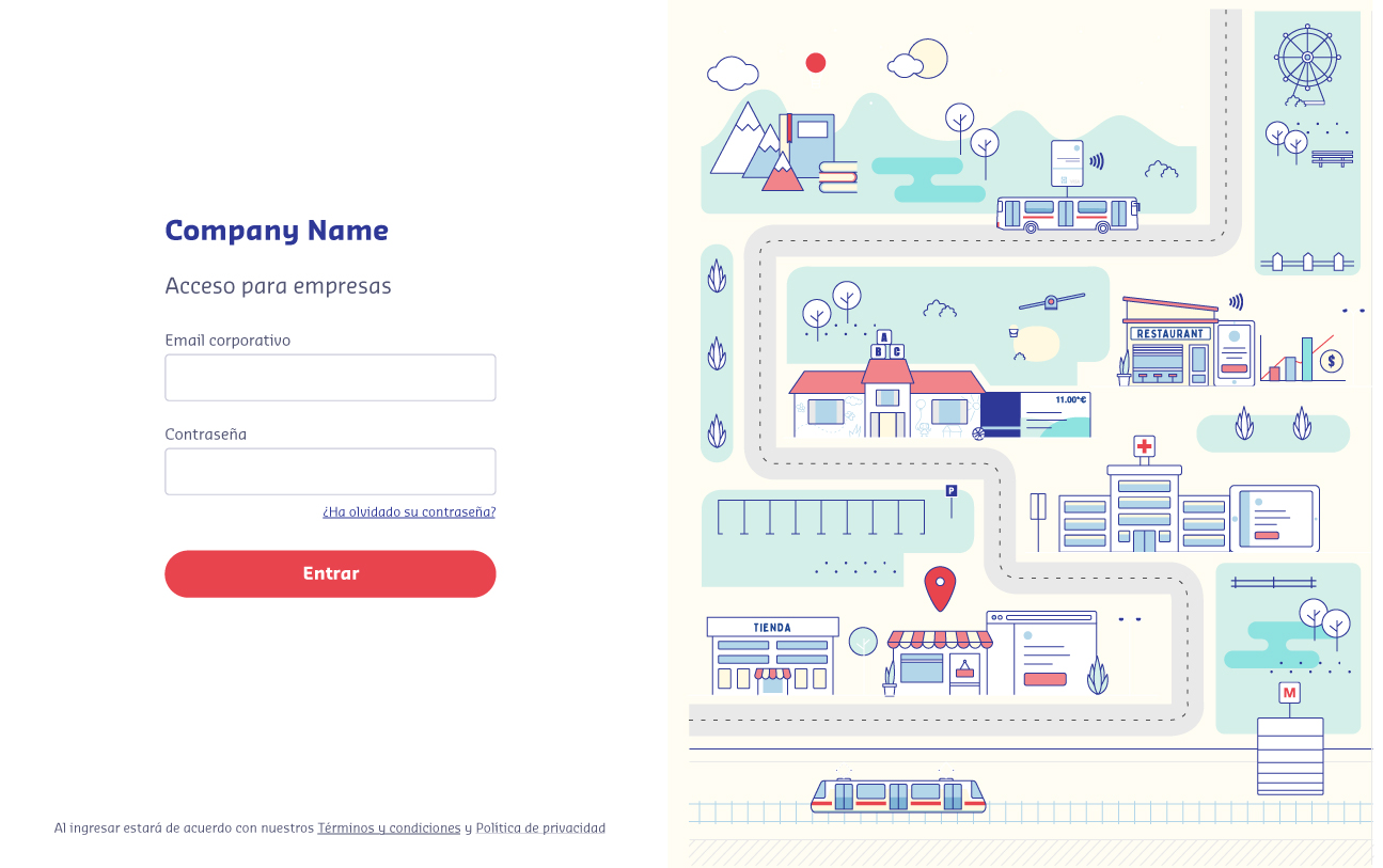 login page with illustration